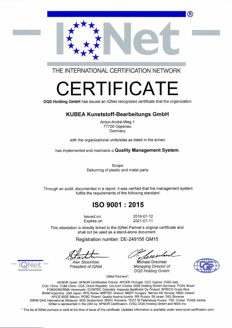 KUBEA GmbH - Certificate ISO 9001 : 2015 - Page 1